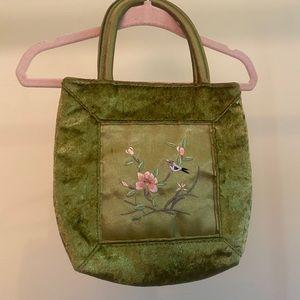 Small VTG green velvet embroidered bag